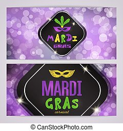 Mardi Gras carnival banners with masquerade mask silhouette