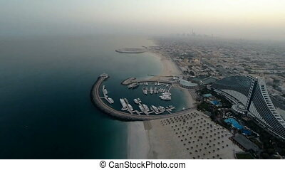 Jumeirah Beach near Burj Al Arab hotel in Dubai, UAE...