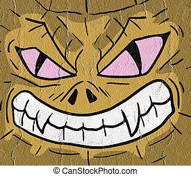 imaginative monster face - Creative design of imaginative...