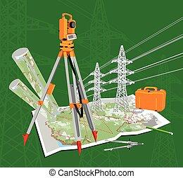 Theodolite, maps, compasses, pencil, power lines. -...