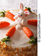 carrot cake with candy bunny macro, vertical - Beautiful...