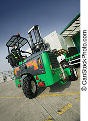 Moffett Truck Mounted Forklift in opperation at depot
