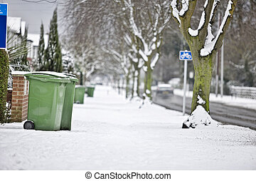 wheelie bins in snow