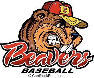 beavers baseball team design with mascot for school, college...