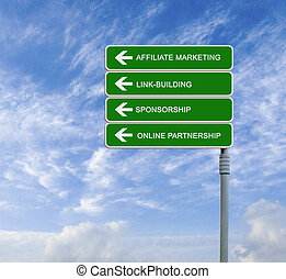 Direction road sign with words - sign to affiliate marketing...