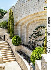 Mediterranean garden with staircase