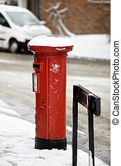 post box in snow - Snow in Cottingham East Yorkshire...