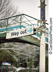 way out sign - Snow in Cottingham East Yorkshire February