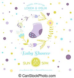 Baby Shower Card - with Cute Socks - in vector