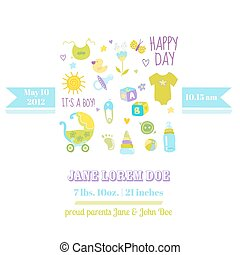 Baby Boy Shower or Arrival Card - with Cute Bodysuit - in vector