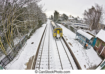 Train In Snow - Snow in Cottingham East Yorkshire February
