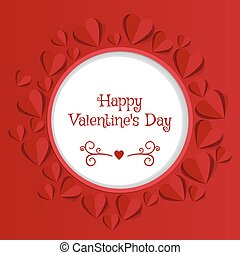Valentine's day abstract background with cut paper hearts.