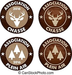 french Hunting club emblem vector - french language Hunting...