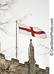 st georges cross on church - Snow in Cottingham East...