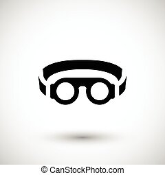 Protective welding goggles icon isolated on grey Vector...