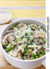Risotto with Peas Mushrooms and Parmesan