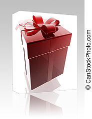 Fancy present box package - Software package box Wrapped...