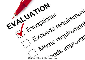 Evaluation Form Marked Exceptional - Evaluation form marked...