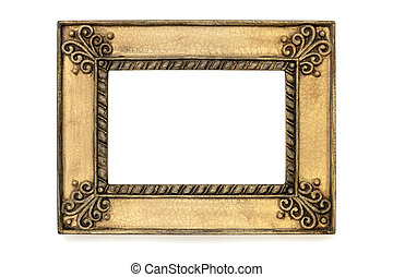 Gilded Grunge Picture Frame Isolated on White