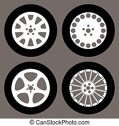 set of different rims isolated