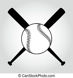 Crossed baseball bats and ball. - Black and white crossed...