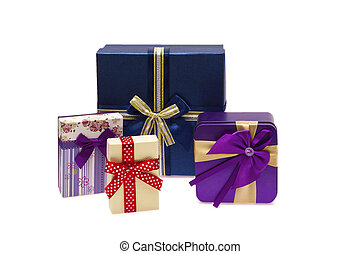 Collection row of colorful gift boxes with bows, isolated on white