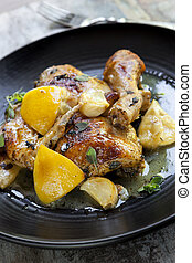 Roast Chicken with Lemon Garlic and Thyme