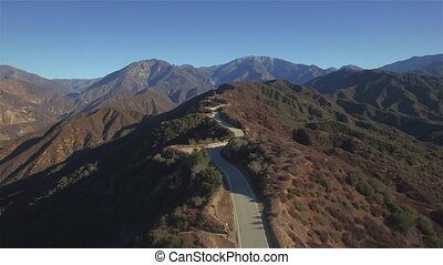 Mountain Top Windy Road - Clear day aerial view of a windy...