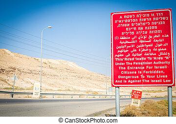 自治權, 猶太人, 以色列, 巴勒斯坦人, 簽署, 中間, 警告, 東方, 邊框