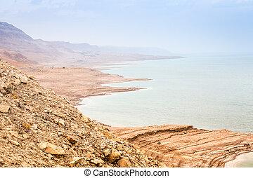 Dead sea coast at twilight, Israel, Middle East