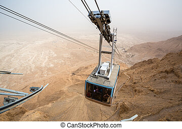 Cable car going to famous Masada, Dead Sea Region, Israel