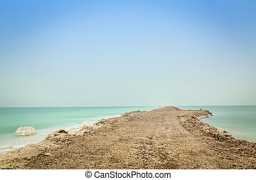 Dead Sea Landscape - Dead Sea Bank - earthwork is done to...