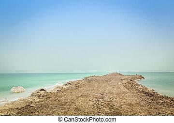 Dead Sea Landscape - Dead Sea Bank - earthwork is done to...