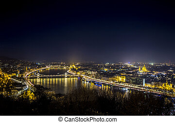 Nightscape of Budapest, Hungary, Europe - Night cityscape of...