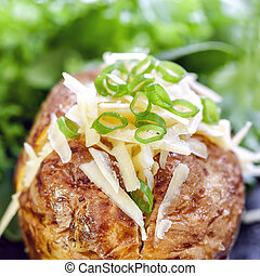 Baked Potato Stuffed with Cheese and Onion