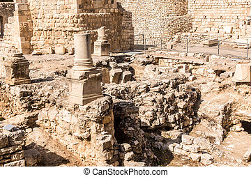 Remains of Bethesda Pool in Jerusalem, Israel