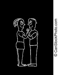 concepto, amor, pareja, negro, blanco, dibujo