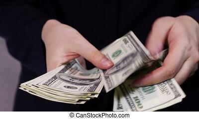 Business Women Counts Money in Hands.