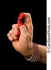 Kapittha hasta of indian dance Bharata Natyam - Woman hand...