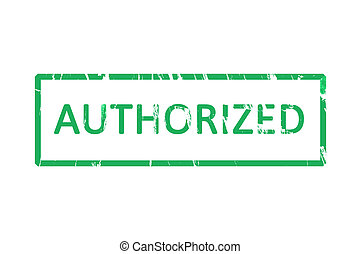 Authorized office rubber stamp - An office stamp with green...