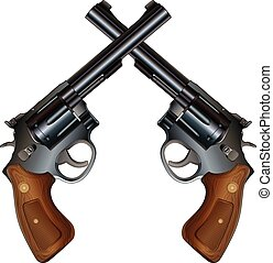 Crossed Pistols is an illustration of two crossed revolver...