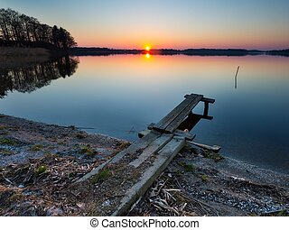 Lake landscape at sunset - Beautiful lake landscape at...