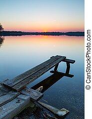 Lake landscape at sunset - Beautiful lake landscape at...