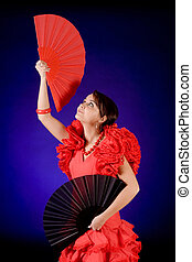 Two fans - Young Spanish Flamenco dancer with two fans