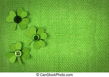 St Patricks Day shamrocks on green - St Patricks Day green...