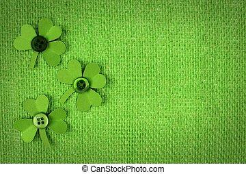 St Patricks Day shamrocks on green - St Patricks Day green...