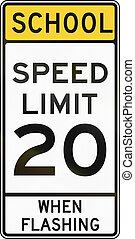 Road sign used in the US state of Delaware - school zone...