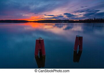 Colorful sunset over lake - Beautiful long exposure...