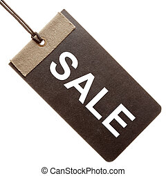 Sale written on black paper tag isolated