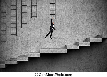 businessman hung on ladder - businessman in suit hung on the...